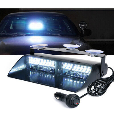Interior Flashing Strobe Lights w//Suction Cup 9 16W Amber White LED Emergency Warning Windshield Dash Light for Truck Security Vehicles