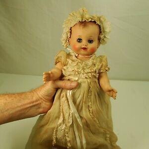 Vintage-Madam-Alexander-doll-1950-s-Kathy-Baby-14-034-Dressed-in-Christening-Gown