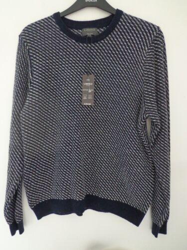 BNWT Da Uomo M/&S Limited Edition gamma Misto Cotone Blu Scuro Mix Maglione Taglia XL R//P £ 30