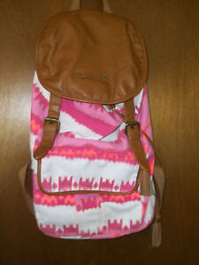 66ebd31a61 Details about Hurley Pink Tye Dyed Backpack Leather flap bottom and straps  used adj strap
