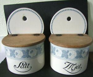 2 Küchen Vorratsgefäße Salz + Mehl,Keramik 1920er,Rosendekor Nr. 2236,22x17x14cm