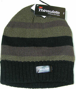 Image is loading MENS-THINSULATE-BLACK-GREY-amp-GREEN-STRIPED-BEANIE- cc4dbdb913c