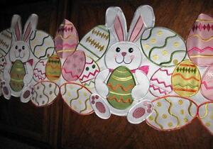 "Bunny & Easter Eggs Easter & Spring Decor Table Runner 67""x 13"" Applique Design"