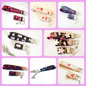 Cotton-fabric-Key-Fob-Wrist-strap-fob-various-colours-handmade