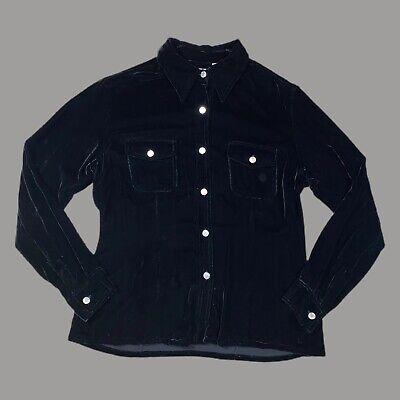90s Black Velvet Button Up Blouse Medieval Style