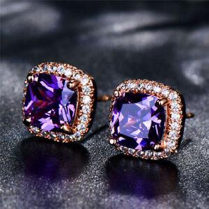 Elegant-Rose-Gold-Princess-Cut-Champagne-Topaz-Stud-Ear-Square-Stud-Earrings