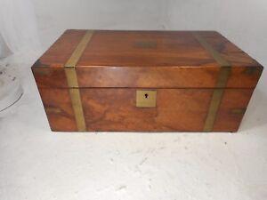 Antique-Walnut-Brass-Bound-Writing-Slope-Box-ref-4046