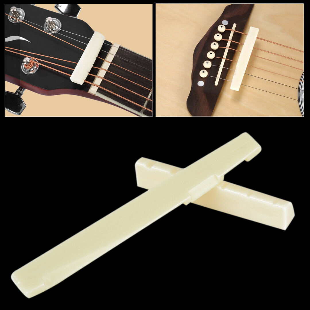 2x Guitar Slotted Nut for Wooden Acoustic 6 String Guitar Accessory