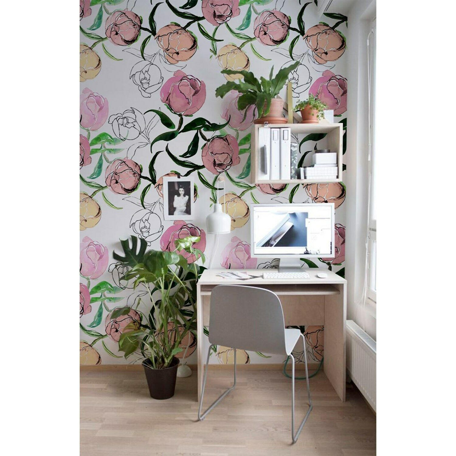 Non-Woven wallpaper Peony Buds Floral Flowers Peonies Traditional art Mural