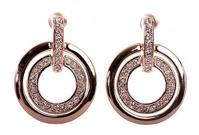 b5d9cca17728f Swarovski Element Crystal Circle Mini Pierced Earrings Rose Gold Authentic  7137v | eBay