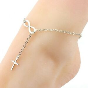 Image Is Loading Silver Coloured Infinity Cross Ankle Bracelet Anklet Adjule