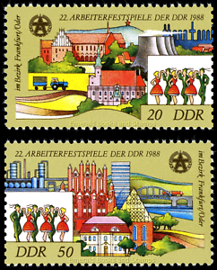 EBS-East-Germany-DDR-1988-Workers-039-Festival-Michel-3168-3169-MNH