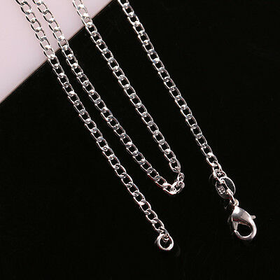Lots 1/5/10pcs 925 Sterling Silver 2mm Flat Curb Chain Necklace 16-24 inch Bulk