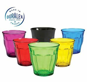 Image is loading Duralex-Picardie-Coloured-Glass-Tumblers-250ml-Set-of-