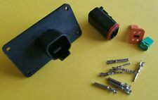 Black Deutsch 4 Pin Flange Connector Kit 14 16 Awg Pins Amp Seals Crimp Pins