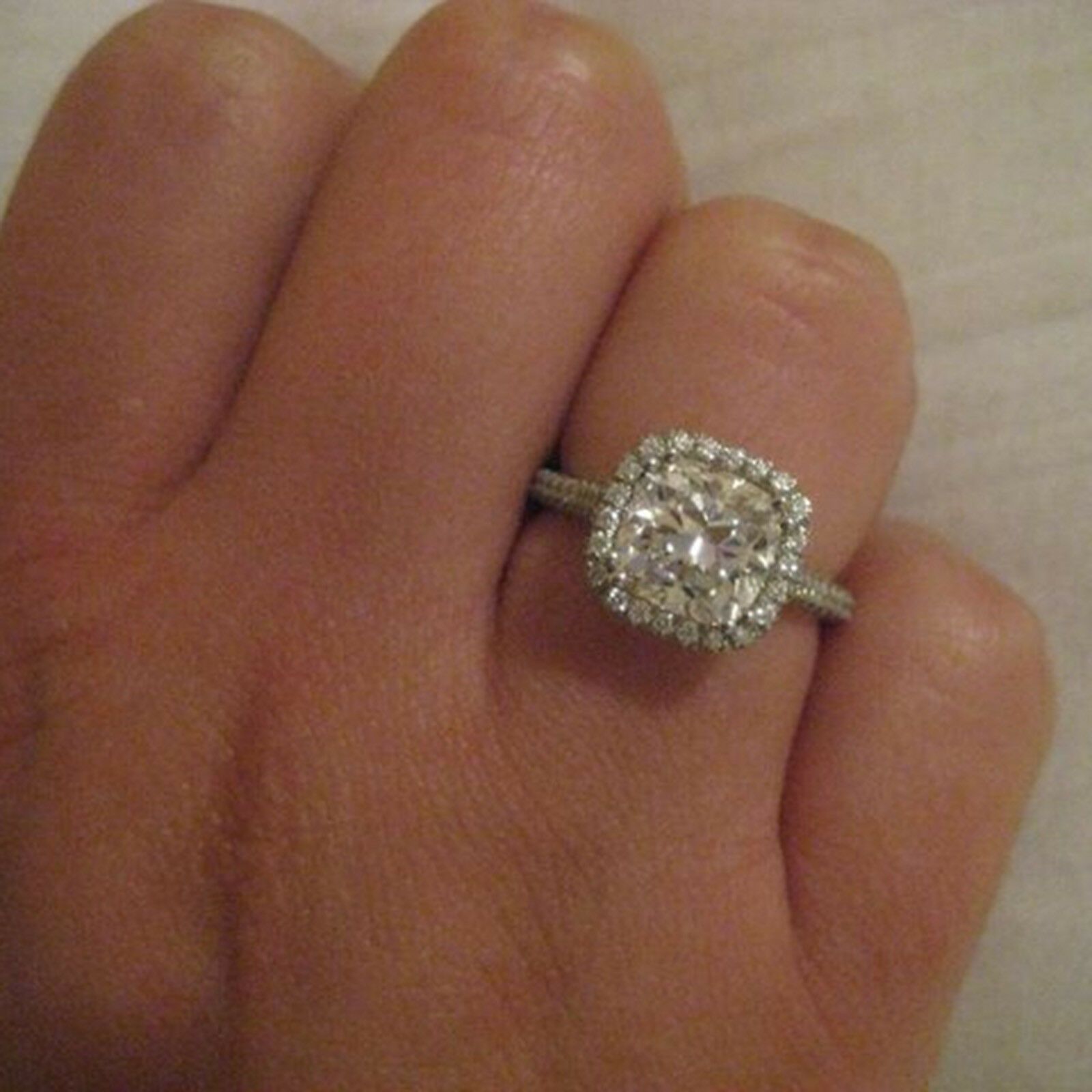 1.60Ct Real Diamond Cushion Cut Engagement Rings 14K Solid White gold Size N M K