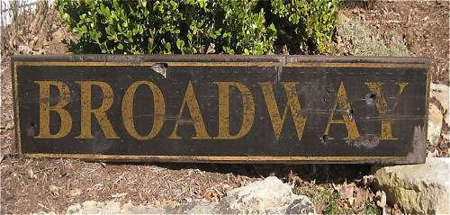 BROADWAY - Rustic Hand Painted Wood Sign