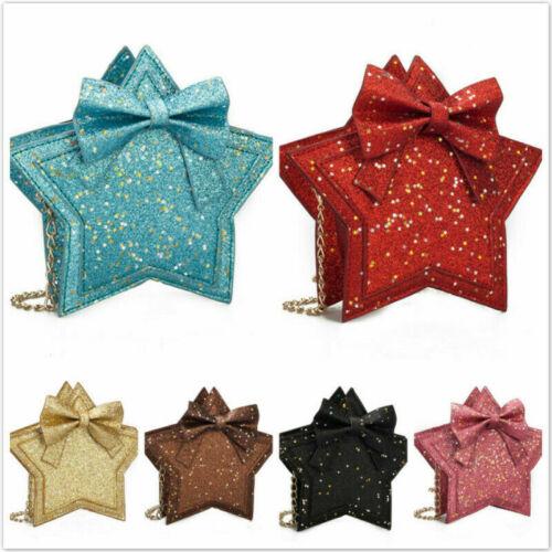 Kids Small Handbag Pentagram Shape Bow Flap Purse Shoulder Bag Crossbody SK
