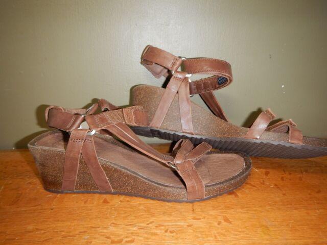 0668e3a7a54 Teva Ysidro Universal Brown Leather Wedge Sandals Women US 10  EUR ...