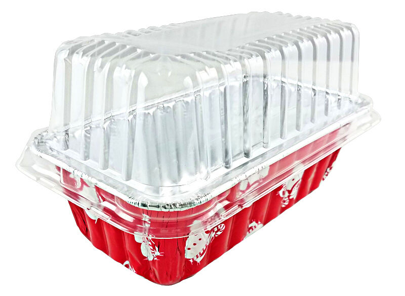 Handi-Foil 2 lb. Red Snowman Holiday Christmas Loaf Bread Pan w/Clear Dome Lids 48