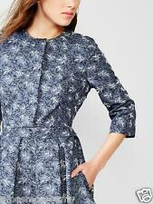 NEW GAP Womens Fit & Flare Leaf Pleat Snap Crewneck Dress Steel Blue White 0 $74