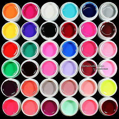 36 pcs Mix Color Solid Pure UV Builder Gel Acrylic Set for Nail Art Tips Salon