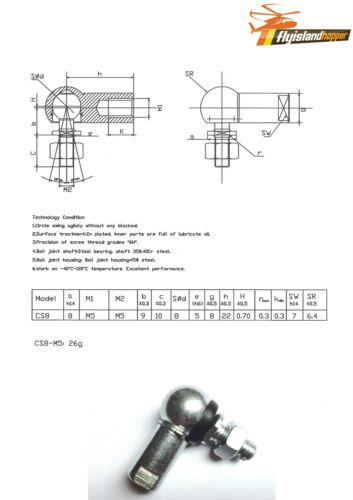 1 x Kugelgelenk Winkelgelenk mit Dichtung CS RH DIN 71802 M5 Rechtsgewinde