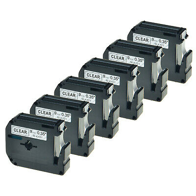 """Label Tape For Brother P-touch M121 MK121 M-K121 Black on Clear PT-70HK 9mm 3//8/"""""""