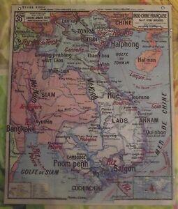 Objet-de-metier-Geographie-Vidal-N-36-bis-Indo-Chine-Francaise-Saigon-Laos-Hue