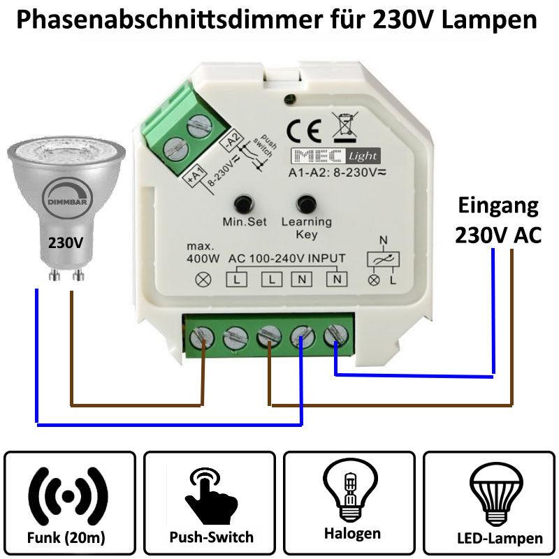 1 canali radio-Led-Dimmer 230v ac 1x 400w per RF più zone trasmettitore - (sr-1009sac-hp)