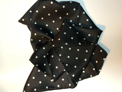 by Tails and the Unexpected Black Polka Dot Black Polkadot Silk Pocket Square