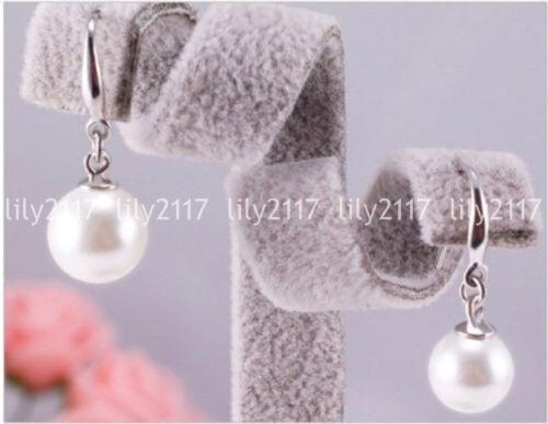 Naturel 8 mm WHITE FRESHWATER Shell Pearl Round 925 Argent Dangle Crochet Boucles D/'oreilles