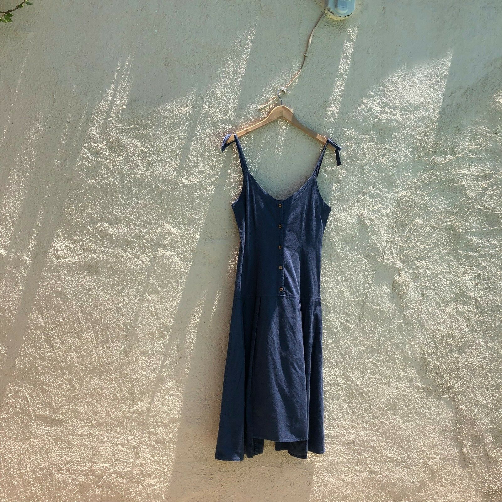 NWT LACAUSA 100% COTTON BUTTON AND TIE DRESS  IN NAVY