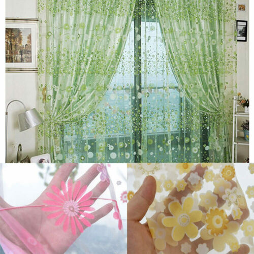 Well Rustic Floral Print Voile Curtain Living Room Balcony Tulle Yarn Decor 1x2M