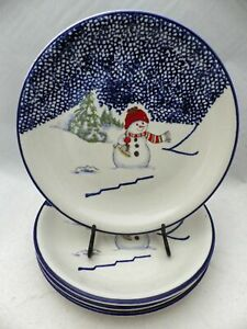 Thomson-Pottery-Snowman-pattern-set-lot-of-4-Snowman-theme-Dinner-plates-EUC