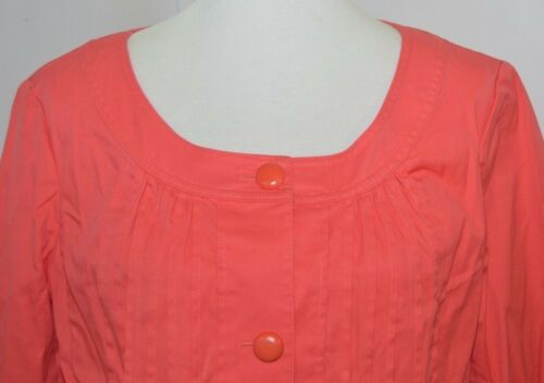 Solid Nwot Jacket Pleated Orange Lommer 14 Women Talbots Up Blazer Button qB1a7SHwq