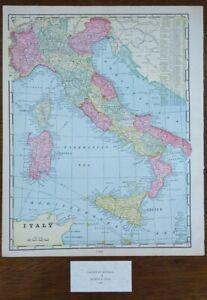 Vintage-1900-ITALY-Map-11-034-x14-034-Old-Antique-Original-FLORENCE-MILAN-NAPLES-ROME