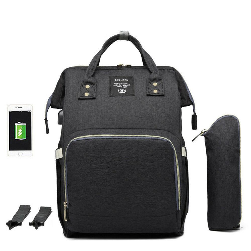 Babytasche Wickelrucksack Wickeltaschen Windel Rucksack Pflegetasche USB+Haken*1