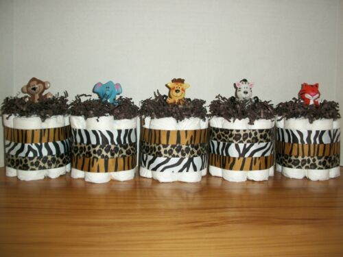 5 JUNGLE ANIMAL MINI DIAPER CAKES BOY NEUTRAL BABY SHOWER DECORATION MONKEY CUTE