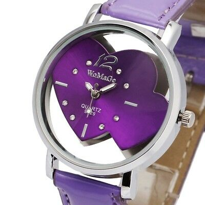 WoMaGe Brand New Skeleton Heart Lady Girl Women Quartz Wrist Watch Bracelet Case