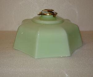 magnifique abat jour en verre vert clair exterieur blanc interieur ebay