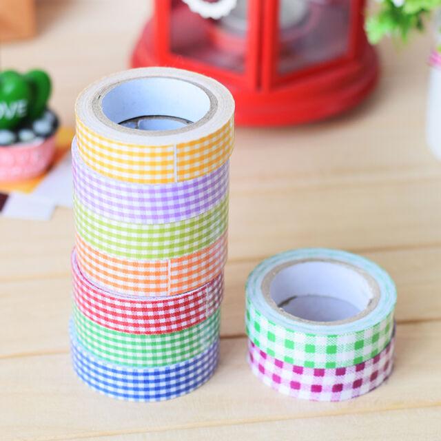 1Pc 15mm Fabric Washi Decora DIY Tape Grid Crafts Adhesive Scrapbooking Sticker