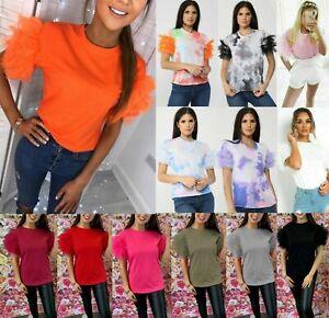 Damen-Damen-Tuell-Rueschen-Ruffle-Mesh-Puff-Kurzarm-Fashion-Tee-T-Shirt-Top