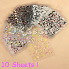 10 Sheets 3d DIY Art Manicure Fingernail Decoration Mixed Decal Stickers