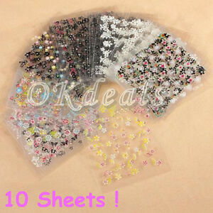 Sale-10-Sheets-3D-DIY-Art-Manicure-fingernail-Decoration-Mixed-Decal-Stickers