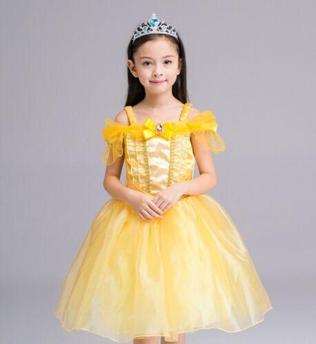 GIRLS KIDS YELLOW BELLE BEAUTY /& THE BEAST PRINCESS FANCY DRESS COSTUME COSPLAY