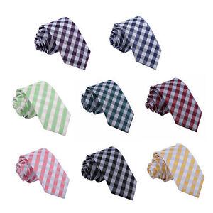 Hommes-Cravate-Standard-Slim-Fine-Noeuds-Carreaux-Vichy-Multicolore-Marque-DQT