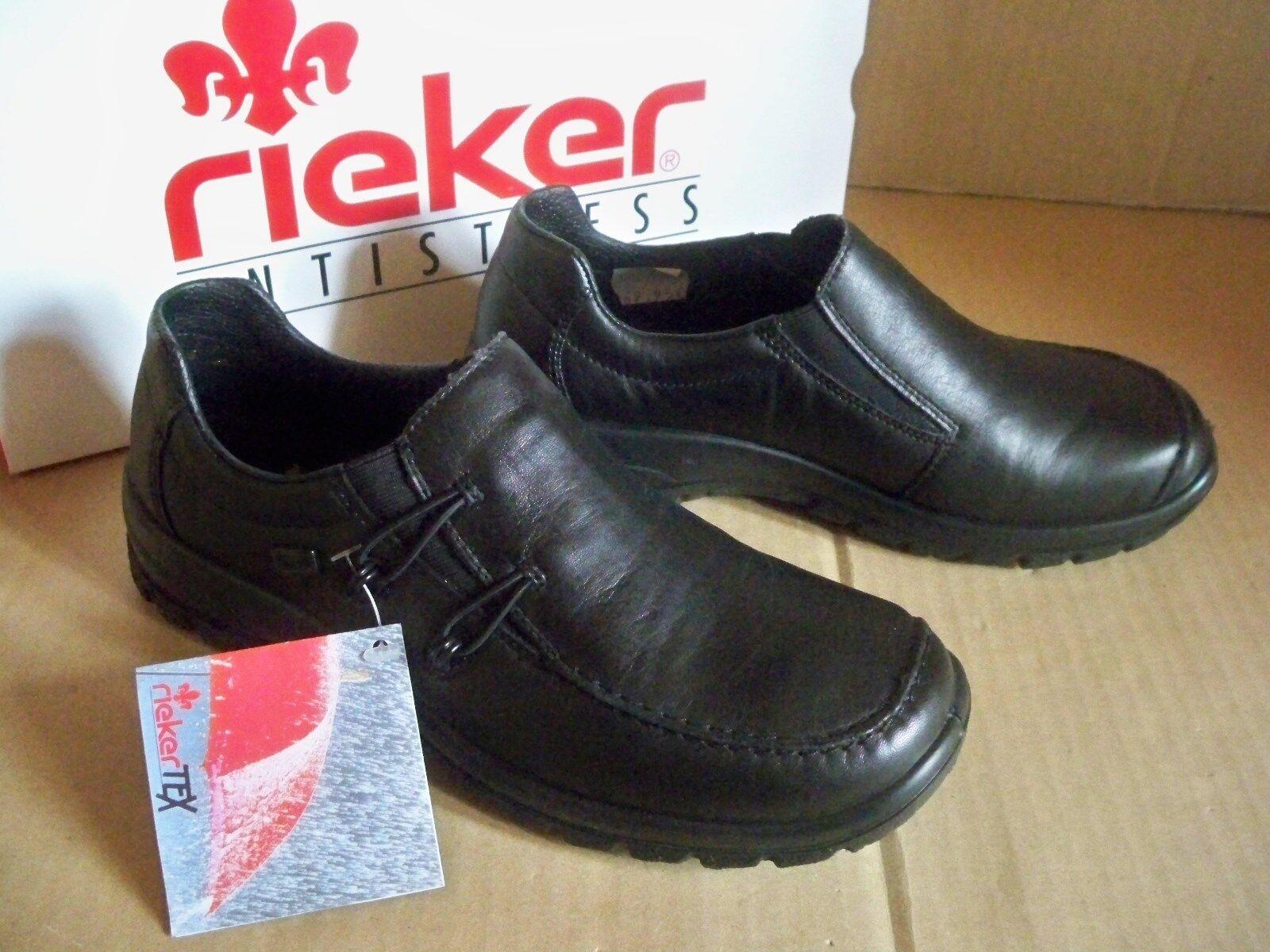 Rieker ANTISTRESS Damen Slipper schwarz riekerTex Membran Leder L7180-01