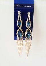 Venetti Crystal Diamante Blue Earrings Long Dangle Drop Wedding prom Luxury