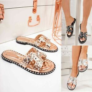 New Womens Diamante Sliders Shiny Flat Sandals Holiday Mules Slip On Shoes Sizes